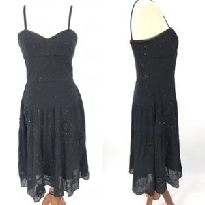 Laundry Shelli Segal Black Dress Beaded Cocktail